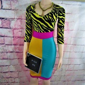 Auditions Colorblock Zebra Print Midi Dress Size L
